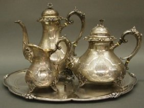 4 Pc Silver Tea Set
