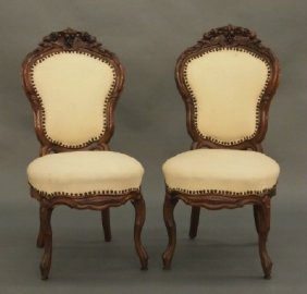 Pr Of Victorian Rosewood Chairs